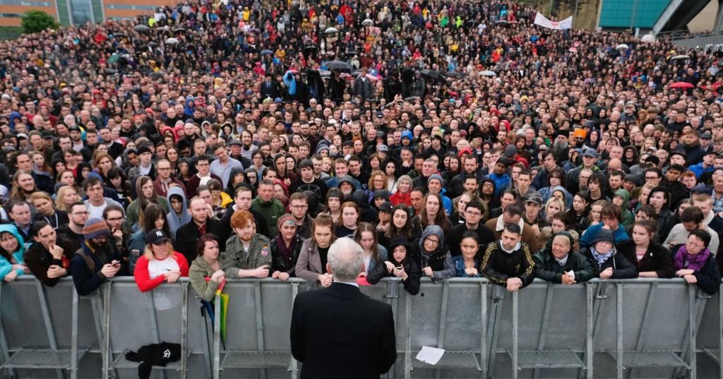 Corbyn speaking in Gateshead